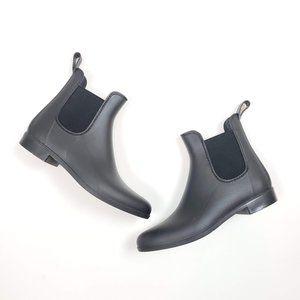 J. Crew Matte Black Chelsea Rain Booties Boots 9